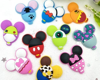 10pcs/lot Cute Mickey personality balloon rubber cartoon flatback DIY hair bow accessories shower decoration Center Crafts charms