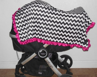 "New Baby Toddler nursery receiving bed blanket girl boy shower gift 40"" satin ruffle edge minky chevron black white hot pink"