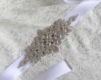 Women  satin Rhinestone flowers wedding dress flower girl comunion birthday baptism sash belt white