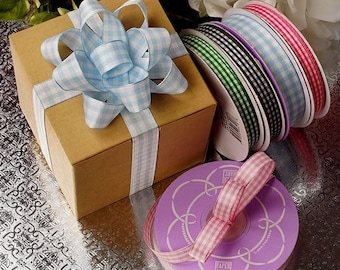 """25 yards 5/8"""" X 20yd Gingham Weave Ribbon Easter Birthday bow green blue pink bow party decor birthday St Patricks"""