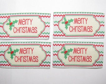 20 Merry Christmas woven label tag clothes fabric crafts scrapbooking scrapbook crafts sew on sewing handmade gifts card making