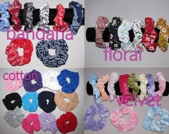 Hair Scrunchie  Hair Tie  Elastic Hair Accessories girl women 80s 90s velvet cottn bandana paysley floral solid