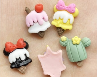 5 pcs/lot Cute Mickey ice cream cake unicorn flatback DIY hair bow accessories shower decoration Center Crafts charms