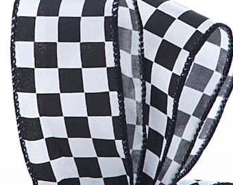 """1.5""""  Checkered Print Satin ribbon craft scrapbook gift bow 10 yards"""