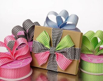 "20 yards 1-1/2"" X 20yd Mini Chevron Woven Ribbon Easter Birthday bow green blue hot pink bow party decor birthday"