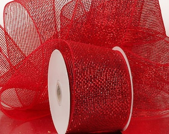 """Half Solid Metallic 4"""" Deco Mesh Ribbons Holiday floral decor 20 yards RED"""