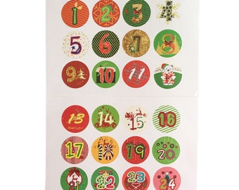 Christmas advent calendar numbers stickers craft DIY 1-24