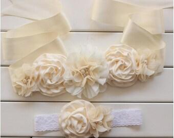 Women child baby satin Rhinestone flowers wedding dress flower girl comunion birthday baptism sash belt and headband ivory beige lace 2pc