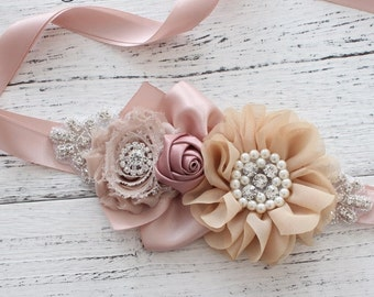 Women child baby maternity satin Rhinestone pearls flowers wedding dress flower girl comunion birthday baptism sash belt beige rosy taupe