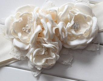 women Girl child baby satin flowers wedding dress flower girl comunion birthday baptism sash belt and headband ivory