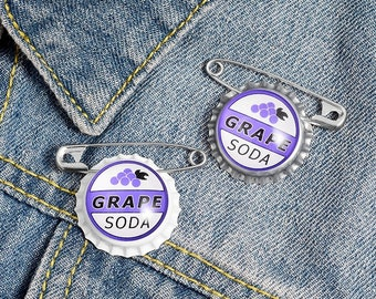 Grape Soda Bottle cap Brooches Pin costume   Gift for Kids Friend