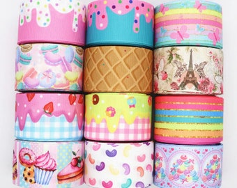 """Ice Cream RIBBON waffle cone Ice Cream Sprinkles jelly beans candy mermaid ribbon for bow  Printed Grosgrain ribbon by the yard 1"""" 1.5"""" 3"""""""