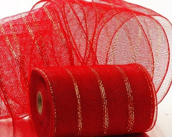 """red Metallic 6"""" Deco Mesh 20 yards Valentines Christmas wreath Holiday floral decor"""