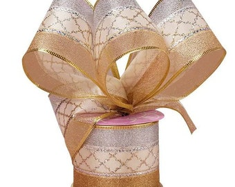 """2.5""""  Christmas Gold / Silver Metallic Stripe  On Wired Ribbon  craft scrapbook decor favors  gift bow"""