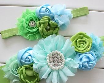Girl child baby satin Rhinestone flowers wedding dress flower girl maternity birthday  sash belt and headband aqua blue lime green apple 2pc