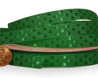 """3/8"""" 25 yards green Glossy Polka Dot Satin Ribbon St. Patricks Christmas"""