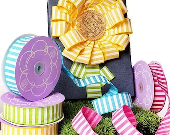 """10 yards 1-1/2"""" X 10yd Striped RIBBON wired hot pink bow party decor birthday"""