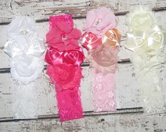Girl child baby Lace satin Rhinestone flowers wedding dress flower girl comunion birthday baptism headband chic vintage style