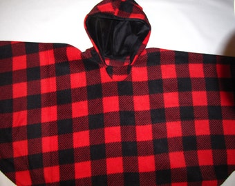 child Hooded warm fleece cape coat 2 - 14 years child toddler boy girl poncho carseat car seat Holiday plaid Christmas matching family