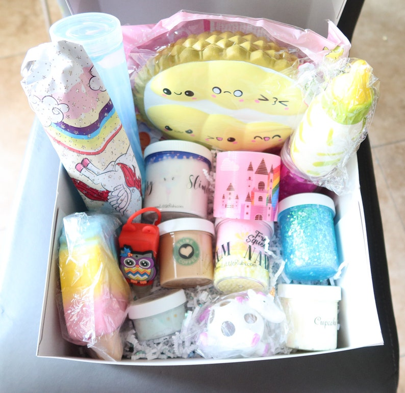 Birthday Mystery slime box goodie bag free extras gifts squishies