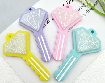 4 pcs key Pendant For diy keychain  Charms 3D Resin Pendants Earring Fashion Jewelry diy Crafts charms slime cell phone