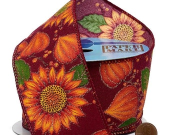 """2.5""""  Sparkling Fall Florals On Wired Ribbon wired ribbon craft scrapbook decor favors Thanksgiving gift bow"""