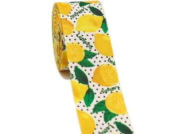 "lemonade lemons RIBBON ribbon for bow  Printed Grosgrain ribbon by the yard 1.5"""