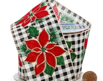 """2.5""""  Poinsettia On Gingham Wired Ribbon craft scrapbook decor favors Christmas gift bow"""