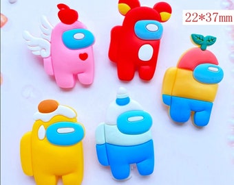 10pcs/lot Cute among us rubber cartoon flatback DIY hair bow accessories shower decoration Center Crafts charms