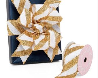 "10 yards 2-1/2"" X 10yd  gold white Diagonal Glitter Striped Faux Linen Wired Ribbon"