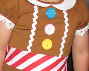 size 4 boutique Holiday Christmas girl ginger bread cookie Elf party dress ugly sweater costume toddler outfit school play pageant