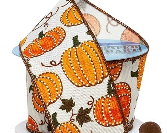"""2.5""""  Pumpkin Print Wired Ribbon On Wired Ribbon wired ribbon craft scrapbook decor favors Thanksgiving gift bow"""