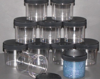"""11 pack slime containers party favors gifts FREE shipping Clear Plastic Round Wide-Mouth Jars 3 oz BPA free 2.1"""" Black"""