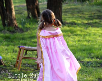 SHIPS TODAY New princess  Inspired Birthday pretend play Costume  cape girl toddler 3-8 years pink gold satin medieval