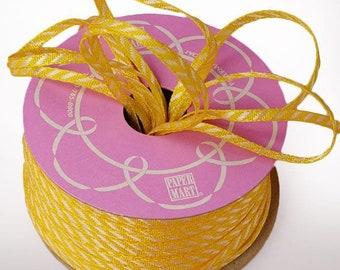 "1/8"" 50 yards Narrow Striped Ribbon yellow white"