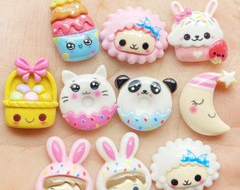 10pcs/lot Cute  cupcake ice cream food Easter flatback DIY hair bow accessories shower decoration Center Crafts charms wholesale