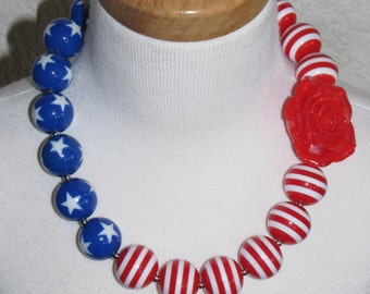 new Acrylic chunky beads bubblegum gumball jewlery girl Necklace 4th of July flag USA