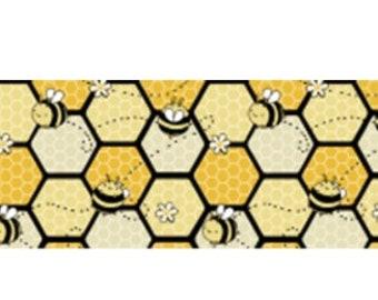 "Bee honey yellow RIBBON ribbon for bow  Printed Grosgrain ribbon by the yard 1.5"""
