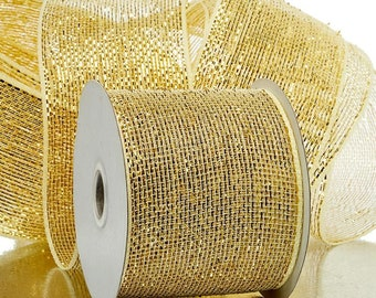 """Half Solid Metallic 4"""" Deco Mesh Ribbons Holiday floral decor 20 yards ivory"""