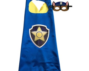 Super hero child cape with felt mask birthday party pretend play dress up halloween costume inspired on Paw patrol chase