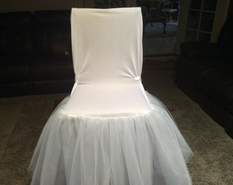 Tulle Tutu Chair cover Skirt Wedding Baby Shower Birthday party supplies Decor sashes slipcovers You choose color
