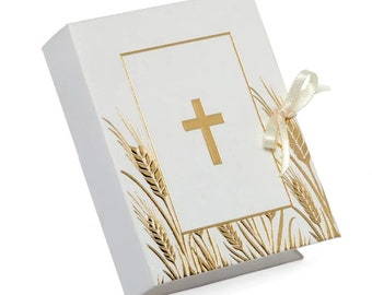 10 pieces Holy Cross party Favor Boxes religious baptism 1st communion christenings white