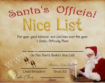 Santas Nice List Certificate post card Christmas advent calendar numbers stickers craft DIY 1-24