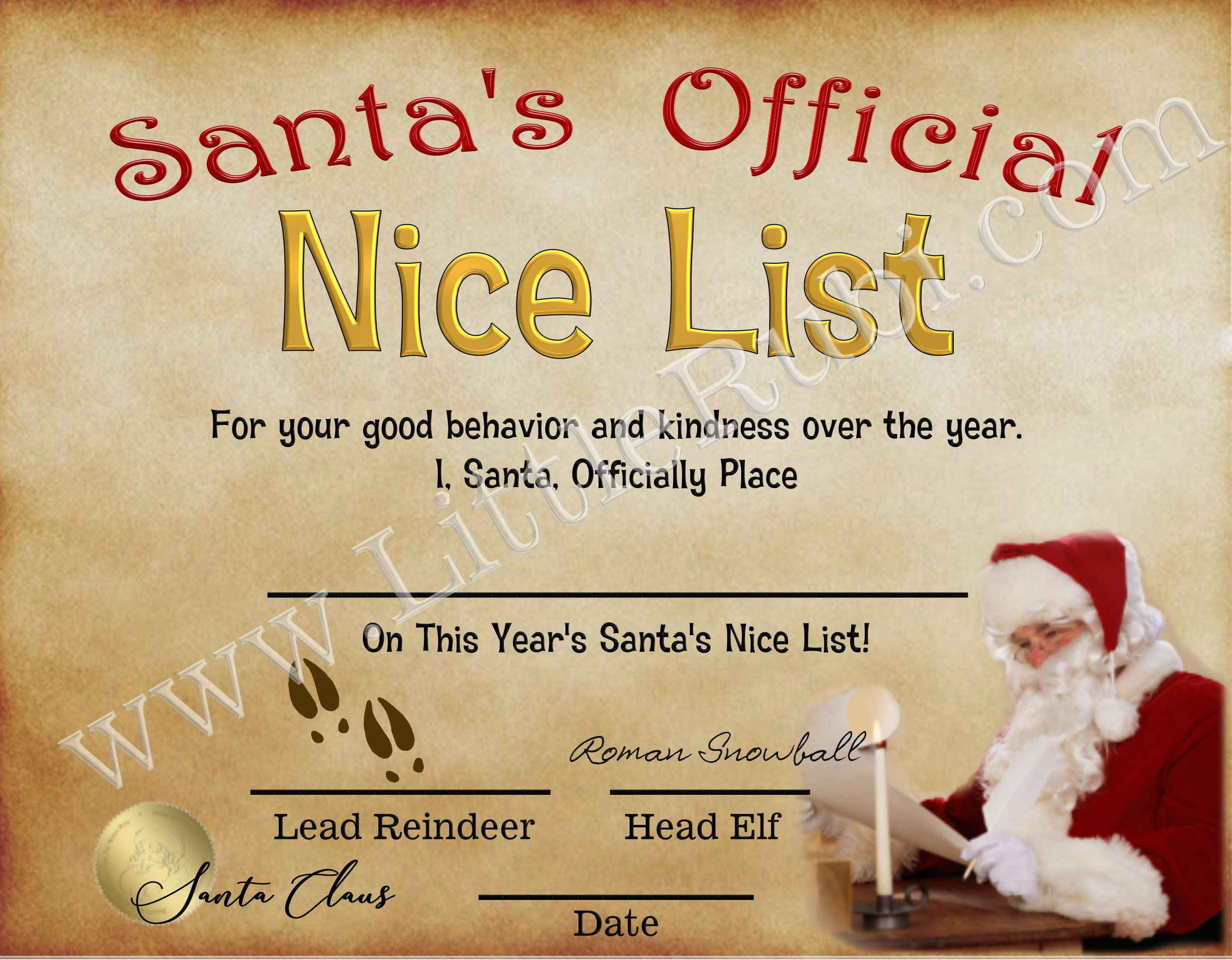 Santa S Nice List Certificate Letter From Santa Post Card For Children On Christmas