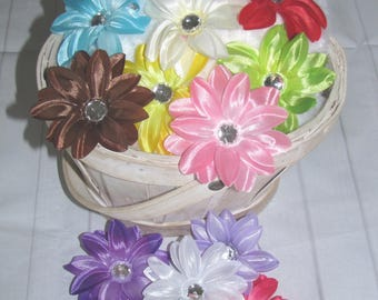 """new Girls girl child toddler Lily flower clip 1 dozen 12 piece hair accessories 3"""" large mix colors FREE shipping"""