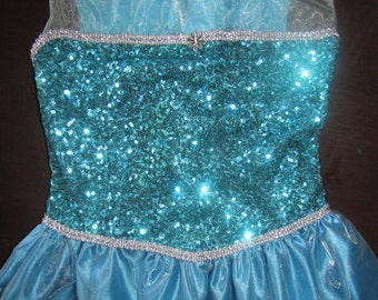New elsa Inspired Costume Birthday girl toddler princess dress size  4-6 LAST ONE