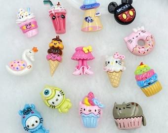 10pcs/lot kawaii resin Cute Cartoon animals  ice cream flatback cabochons For Hair Bow Centers DIY Scrapbooking Decor Crafts charms slime