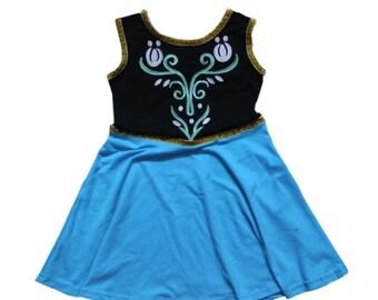 child princess frozen Anna Halloween costume inspired  dress 2 - 8 yrs