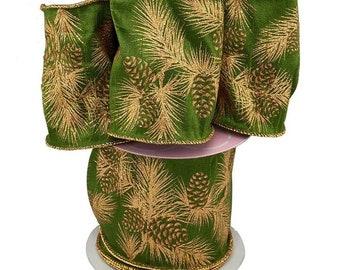 "Green Pine Sprig Wide 4"" X 10YD velvet RIBBON"