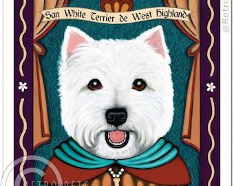 Retro Pets Refrigerator Magnet Wild Westie Frisky Whisky West Highland Terrier
